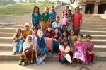Amy and Tess with schoolgirls in Hampi, India.