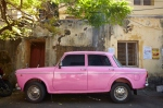 A pink 'Ambassador' in the streets of Fort Kochi